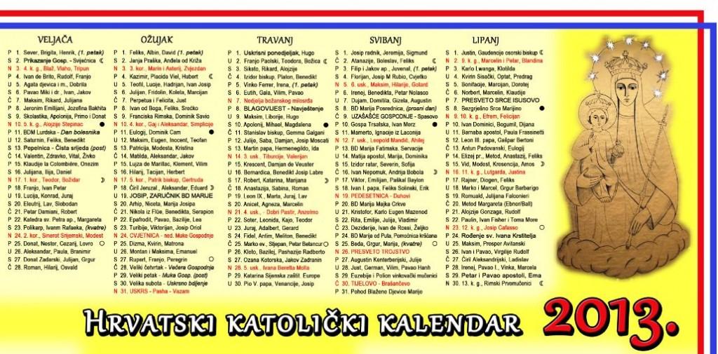 kalendar za našu župu hrvatski katolički kalendar za 2013