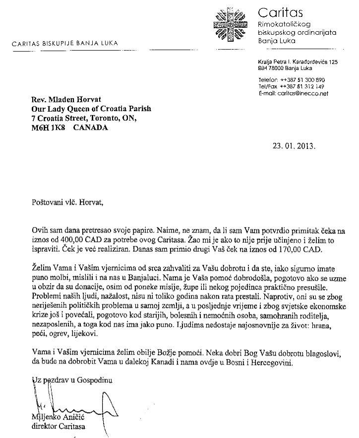 Caritas biskupije Banja Luka 23JAN2013