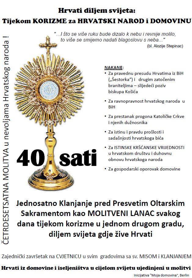 Klanjanje za narod i domovinu Hrvatsku KORIZMA 2013